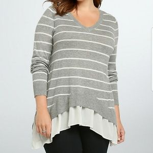 NWT Torrid gray and white sweater blouse size 2